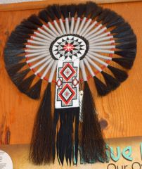 Hand Beaded Navajo Horse Hair Bustle by Linda Lee and Priscilla Chapo (Red-White-Black)