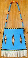 Hand Beaded Blackfoot Plateau-style Brain Tan Fringed Leather Bag