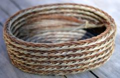 Small Oval Horsehair Braided Basket with Light and Dark Hair by David Bendiola