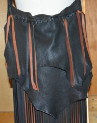 Hand Made Deer Leather Fringe Purse Black