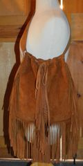 Hand Made Tan Suede Fringed Purse