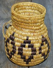 Hand Woven Navajo Water Jug (Black Diamonds) by Rose Lyn Bates