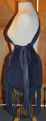 Hand Made Navy Blue Suede Fringed Purse