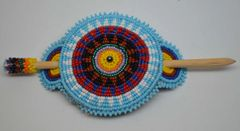 Large Round Hand Beaded Stick Barrette with Sunburst Design