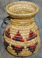 Hand Woven Navajo Water Jug (Red and Black) by Rose Lyn Bates