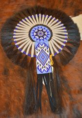 Hand Beaded Navajo Horse Hair Bustle by Linda Lee and Priscilla Chapo (Blue-White)