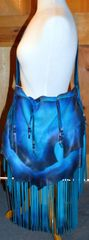 Hand Made Hand Dyed Leather Purse Blue and Black