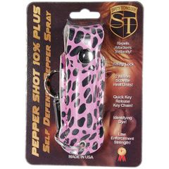 PEPPER SHOT 1/2 oz. FASHION LEATHERETTE HOLSTER with Quick Release Key Chain in Cheetah print Black and Pink.