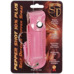 PEPPER SHOT 1/2 oz. LEATHERETTE HOLSTER with Quick Release Key Chain in Pink.