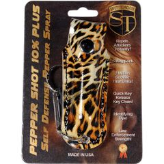 PEPPER SHOT 1/2 oz. FASHION LEATHERETTE HOLSTER Key Chain in Leopard print Black and Orange.