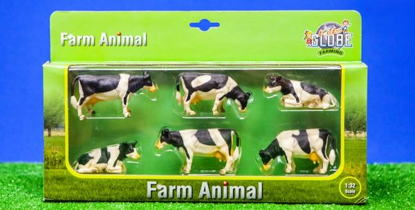 KIDS GOLBE 1:32 SCALE 6 PACK OF BLACK AND WHITE CATTLE 570009