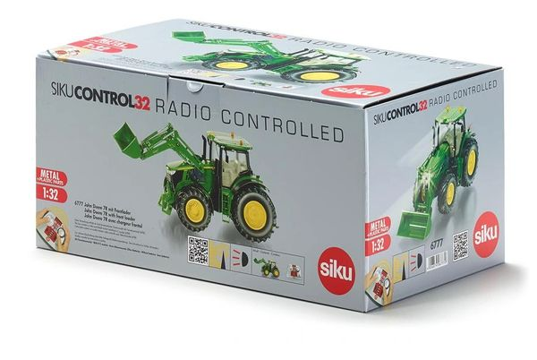 SIKU CONTROL 1/32 SCALE 6777 JOHN DEERE 7280R WITH LOADER AND BUCKET ATTACHMENT (INCLUDES REMOTE CONTROL)