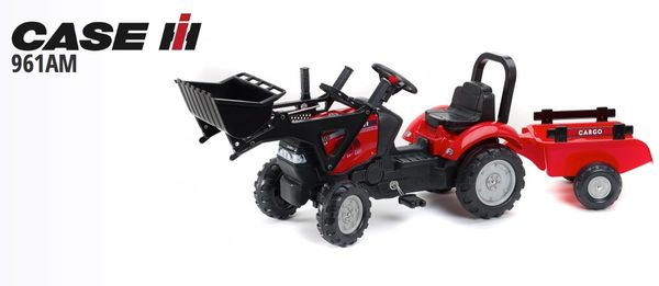FALK RIDE ON TOYS CASE IH MAXXUM 130CVX PEDAL TRACTOR WITH FRONT LOADER AND TRAILER