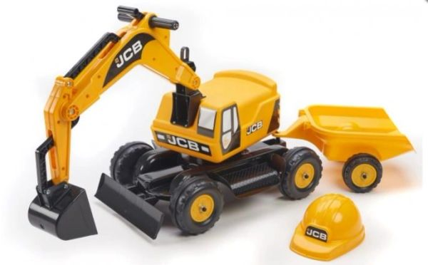 FALK RIDE ON TOYS JCB RIDE ON EXCAVATOR WITH TRAILER AND JCB HARD HAT