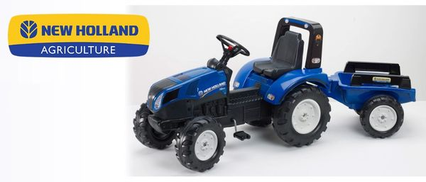 FALK RIDE ON TOYS NEW HOLLAND T8.435 PEDAL TRACTOR WITH TRAILER