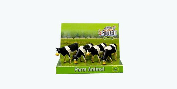 KIDS GLOBE 1:50 SCALE 4 PACK OF BLACK AND WHITE CATTLE 571967