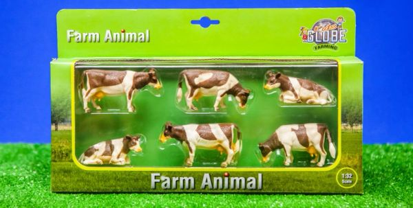 KIDS GLOBE 1:32 SCALE 6 PACK RED AND WHITE CATTLE 570010