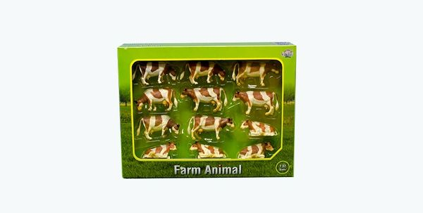 KIDS GLOBE 1:32 SCALE 12 PACK RED AND WHITE CATTLE 571968