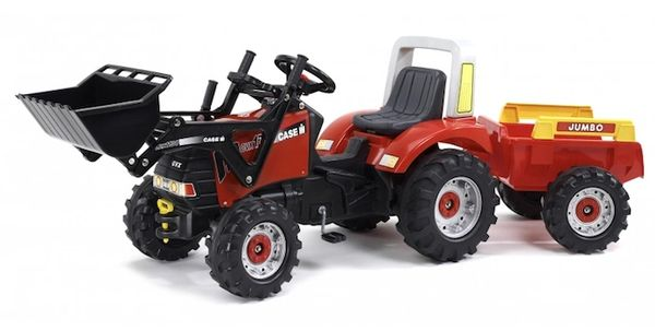 FALK RIDE ON TOYS CASE IH PUMA CVX 170 PEDAL TRACTOR WITH LOADER AND TRAILER