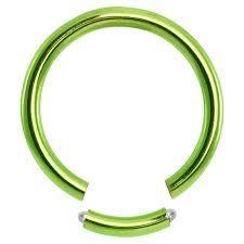 """Titanium IP Segment Ring 14g 3/8"""" green"""