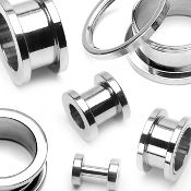 Screw Fit Flesh Tunnels 316L Surgical Stainless Steel 2g