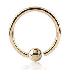 "IP Titanium Fixed Ball Captive Ring 18g 5/16"" gold"