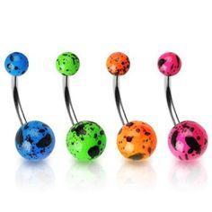 316L Splat Ball Navel Ring-Orange