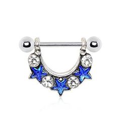 316L Stainless Steel Blue Star Spangled Nipple Ring 14g