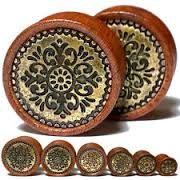 Antique Tribal Pattern Ebony Wood Saddle Fit Plug 00g