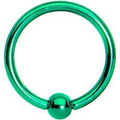 "IP Titanium Fixed Ball Captive Ring 18g 5/16"" green"
