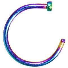 """Titanium IP Nose Hoop 20g 5/16"""" Rainbow"""