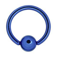 "IP Titanium Fixed Ball Captive Ring 18g 5/16"" blue"