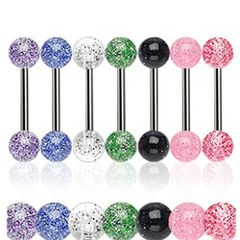 316L Steel Glitter Ball Barbell-Red