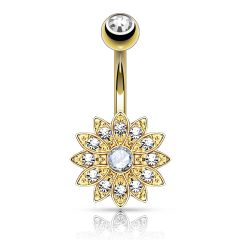 Petite Crystal Paved Flower with Crystal Center 316L Surgical Steel Belly Button Rings Gold