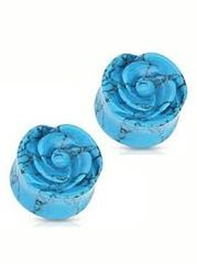 "Turquoise Rose Plug 3/4"""