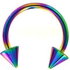 "titanium ip spike horseshoe 16g 5/16"" rainbow"