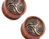 Dotted Tribal Swirl Ebony Wood Double Flare Saddle Fit Plug 2g