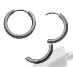 Stainless Steel Black Plated Hoop Earrings