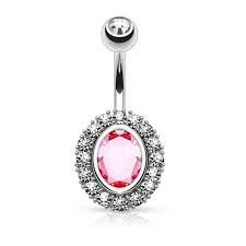 Oval Shape Paved CZ Around Large Oval CZ Surgical Steel Belly Button Rings