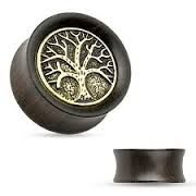 Organic Ebony Wood Saddle Tunnel with Tree of Life Top 2g