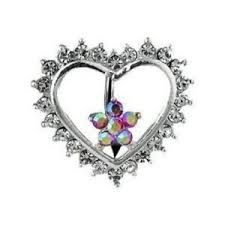 CZ Heart Flower Navel Ring with Top-Down