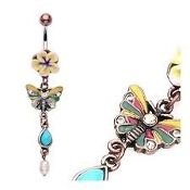 Vintage Fimo Navel with Butterfly