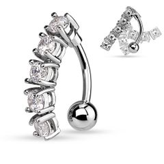 5 CZ Vertical Drop 316L Surgical Steel Belly Button Rings