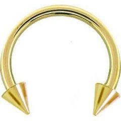 "Gold IP 316L Steel Spike Horseshoe 14g 3/8"""