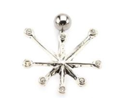 316L Surgical Steel Navel with 8 Gems Fixed Charm