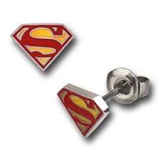 Red and Yellow Epoxy Superman Logo Stud Earrings