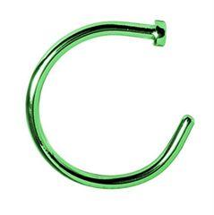 "Titanium IP Nose Hoop 20g 5/16"" Green"