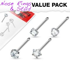 4 Pcs Value Pack of Assorted Clear Prong Set CZ Gem 316L Surgical Steel Nose Bone