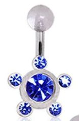 UV Acrylic Multi Gem Navel Ring