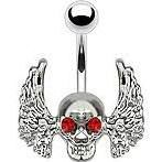 Skull with Red Gem Eyes and Angel Wings 316L Surgical Steel Navel Ring